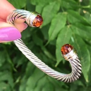 David Yurman 7mm Cable Bracelet w/ Citrine & 14K